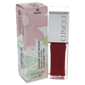 Clinique Pop Lacquer Lip Colour (Gloss) + Primer  - 02 Lava Pop for Women, 0.2 oz