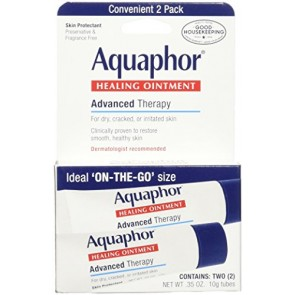 Eucerin Aquaphor Healing Ointment - For Dry Cracked Chapped Skin And Lips, 2 x 0.35 oz